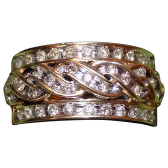 Engagement wedding band 10kt white and yellow gold w diamonds ring Sz 8