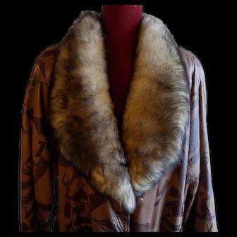 Italian leather italy mod designer brown on brown coat stroller