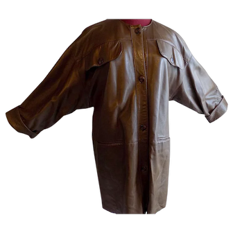 Dita Martin Gucci-style brown leather stroller coat classic no collar XL