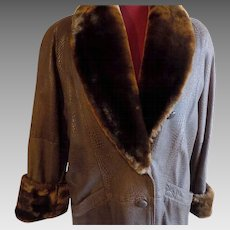 All leather Brown embossed FAUX Lizard Lamb fur trim coat jacket stroller Med.