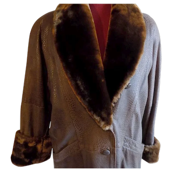 All leather Brown embossed FAUX Lizard Lamb fur trim coat jacket stroller Med.