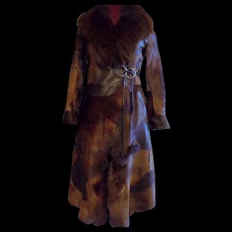 Toscana Italy Italian pony fur leather European designer wrap +tie coat stroller sm.
