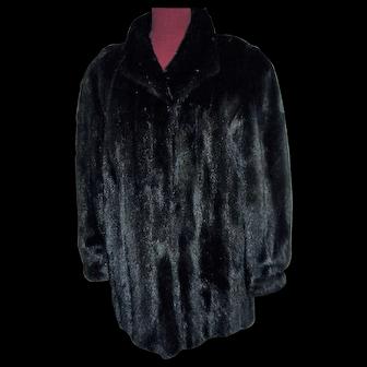 Fab and Perfect Black Mink Fur Jacket Coat L - XL