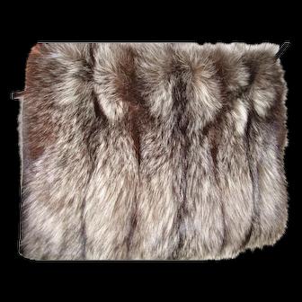 Fluffy rare Silver Fox fur Hand Muff w secret zippered pouch/purse
