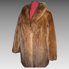 Superb Demi-Buff Mink strips Fur Jacket w large collar