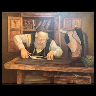 Oil on canvas Jewish Taylor  by Boris Dubrov