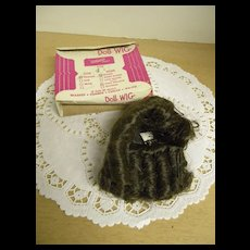 Brown Dynel wig with long curls size 8