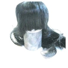 Long French human hair wig black size 8 3/4