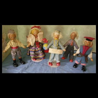 Polish Wooden Doll Group of 6