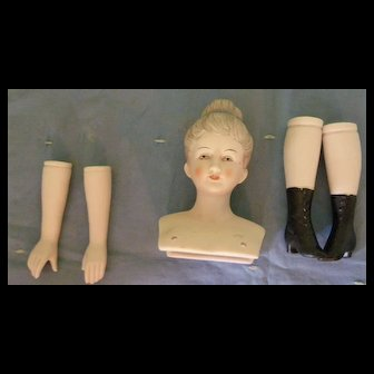 Lovely Bisque Doll parts to make Lady Doll