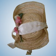 Straw Hat with Flowers and ribbon ties for Alex, Ginny, Muffie
