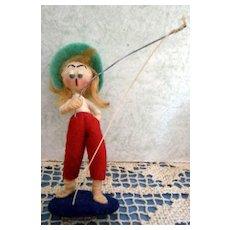 Felt & Cloth Wound 3 inch Fishing Woman