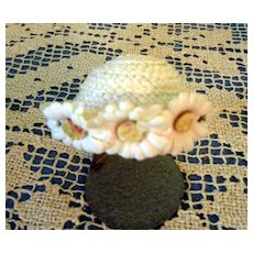 1950's Straw hat with Daisys for 8 inch doll