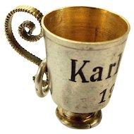 Antique Czech Silver Gilt & Enamel KARLSBAD 1900 Cup Tankard Charm