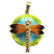 Vintage Silver & Iridescent Enamel DRAGONFLY On LILY PAD Pendant Charm