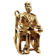 Vintage 9ct Gold Charm JF Kennedy In ROCKING CHAIR 1963 Dublin