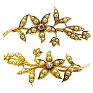 Edwardian 18ct Gold DIAMOND Seed Pearl FLORAL Brooch Pin