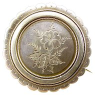 Victorian Silver Brooch Pin Hand FLORAL Engraving