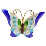 Vintage Chinese Silver Gilt & Enamel BUTTERFLY Pin Brooch