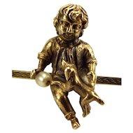 Victorian 9ct Gold Bar Brooch Little BOY & DOG & Pearl BALL