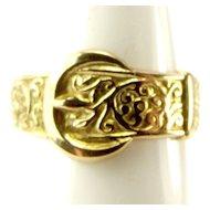 Vintage Ornate 9ct Gold BUCKLE Ring 1970 Hall Mark
