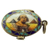 Vintage 800 Silver & Enamel MOSES BASKET Charm Opens BABY Inside