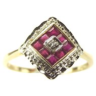 Vintage 9ct GOLD Ruby & Diamond Dress RING