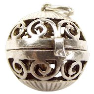 Vintage Silver Pierced ORB Charm Opens NUDE LADY On A Swing