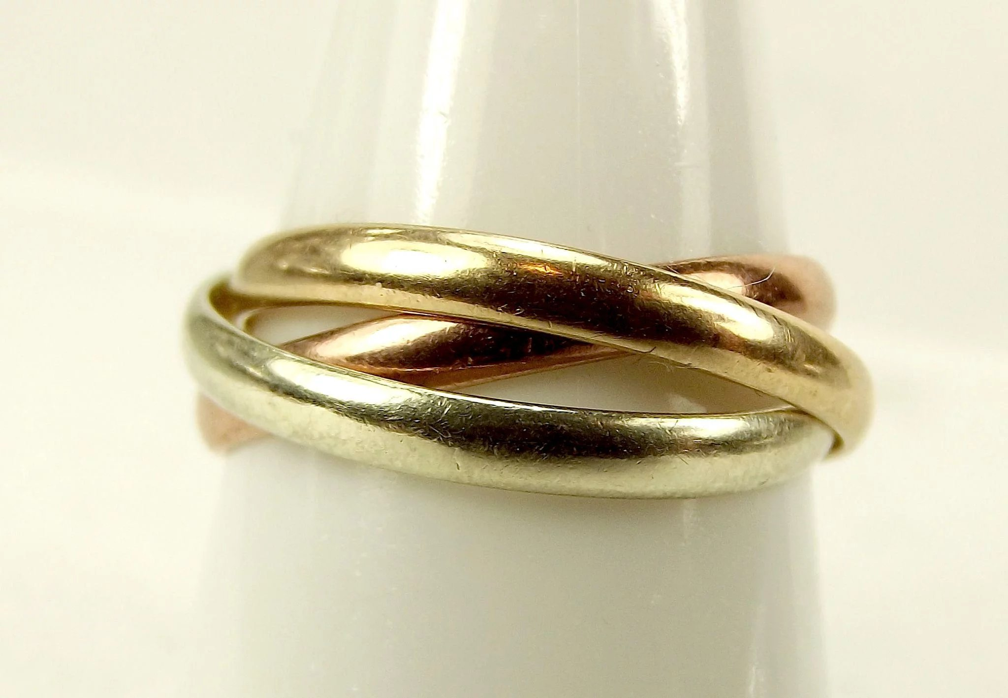 Vintage 3 9ct Gold Russian Wedding Rings Rose Yellow White Hallmark 1982 Click To Expand