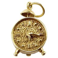 Vintage 9ct Gold ALARM CLOCK Charm Hands & Bell Move 1957