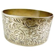 Vintage Silver Hand Chased CUFF BRACELET Safety Catch 1933