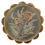 Victorian Sterling Silver & 9ct Gold LOCKET Brooch 1887