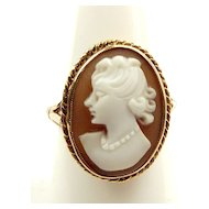 Vintage 9ct Gold Oval CAMEO Ring