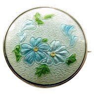 Edwardian Silver & Guilloché Enamel Forget-Me-Not FLOWER Brooch Pendant?
