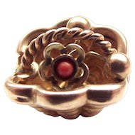 Small 18ct Gold BASKET Charm Moving Coral FLOWER Inside