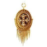 Victorian 18ct Gold Removable FRINGE Pendant Seed Pearl CROSS Blue Enamel