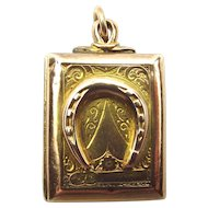 Victorian 9ct Gold Carnelian LOCKET Raised HORSE SHOE