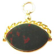 Antique 9ct Gold Charm FOB Pendant Spinning EYE Shaped Carnelion/Bloodstone