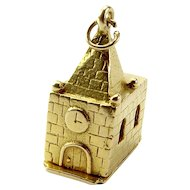 Unusual 9ct Gold CHURCH Charm Opens Bride & Groom At ALTER 1956