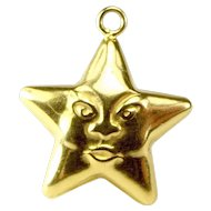 Vintage 9ct Gold Puffy STAR Face Charm