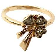 RUSSIAN 14ct Rose & Yellow Gold SHAMROCK Ring Diamond Set