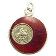 Antique AUSTRO/HUNGARY Silver Red Guilloché Enamel CHARM George & Dragon