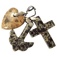 Victorian Scottish Agate FAITH HOPE CHARITY Granite Charms FOB Pendant