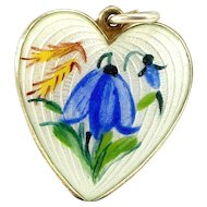 Vintage Silver & Enamel Gentian HEART Charm FOB Pendant NORWAY 925 S