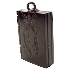 Victorian Whitby JET BOOK Charm FOB Pendant Forget-Me-Not Flower
