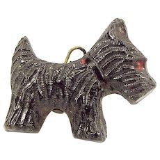 Vintage Czech Black Glass SCOTTIE DOG Charm Fob Pendant 1920's