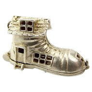 Large Vintage Silver CHIM Charm OLD LADY In SHOE Opens Children