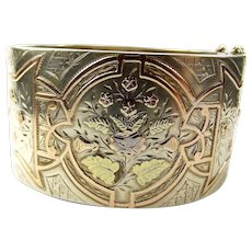 Victorian Silver & 2 Colour 9ct Gold Raised Overlay CUFF Bracelet Bangle c1890 - Red Tag Sale Item