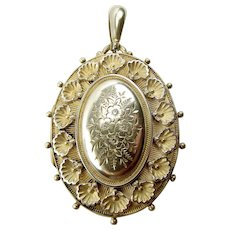 Victorian Sterling Silver LOCKET With SHELL & FLOWER Detailing 1884