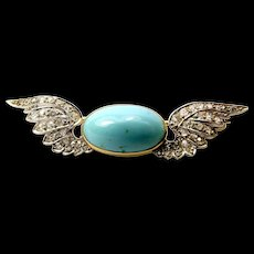 Boxed EDWARDIAN 14/15ct Gold Platinum Diamond WINGS & Turquoise BROOCH